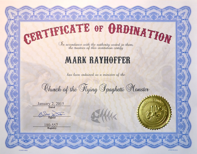Church Of The Fsm Certificates Of Ordination
